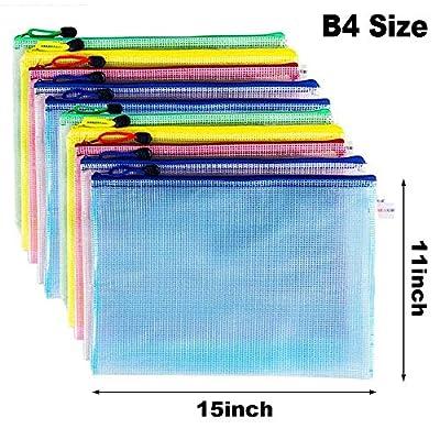 10 Pcs Zipper File Bags, Austark Waterproof PVC Durable Document Bags for School Office Stationery Business Document Receipts Organizer