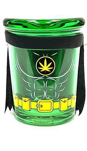 6oz Leaf Cape Pop Top Jar Glass Medical Herb Storage Container Keeps Herbs for Months by Fess Jars