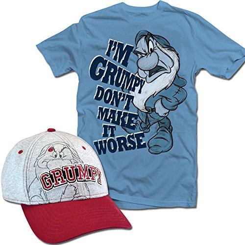 Disney Grumpy Hat ((Set) Disney Grumpy Cap & Don't Make It Worse Denim Blue Cotton T-Shirt - 2X)