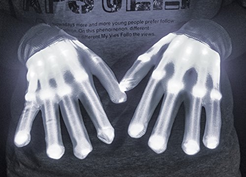 LED Gloves Knit Gloves Party Light Show Gloves For Clubbing, Rave, Birthday, EDM, Disco, Christmas, Halloween And Dubstep Party (White (Coolest Costume Ever)
