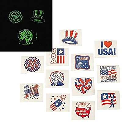 Fun Express Fourth of July Patriotic Glow In The Dark Tattoos - 72 Pieces: Toys & Games