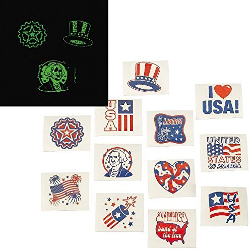 Fun Express Fourth of July Patriotic Glow In The Dark Tattoos - 72 Pieces (2 Pack)