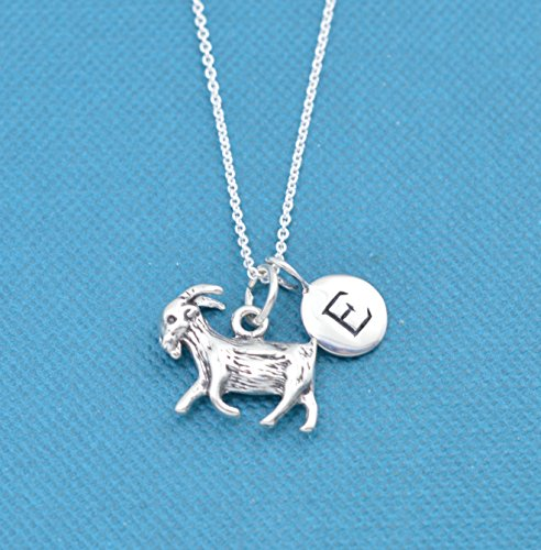 - Little girl's goat necklace in sterling silver personalized with initial charm.