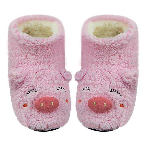 Fleece Slip Clogs (Womens Girls Cartoon Winter Warm Floor Socks Indoor Boots Slippers Winter Soft Cozy Plush Fuzzy Non-Slip Bootie Shoes House Bedroom Slip on Lightweight Fleece Footwear Mules Clog (Cute Pink Pig))