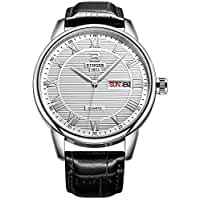 BINGER Roman Numeral Dress Watch Day Date Analog with Black Calfskin Leather Strap (men white brass dial)