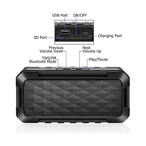 Enceinte Bluetooth Portable, 5W Haut-Parleur Bluetooth sans Fil avec autonomie de 10 Heures, Basses Puissantes, Mains Libres Téléphone, Carte TF Support, Microphone et Chargement USB 4