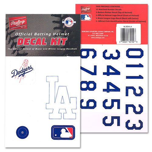 Rawlings Major League Baseball Team Helmet Decal Kit - Los Angeles Dodgers One Size