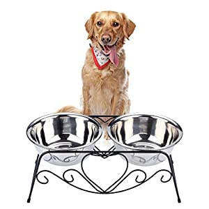 VIVIKO Pet Feeder for Dog Cat, Stainless Steel Food and Water Bowls with Iron Stand