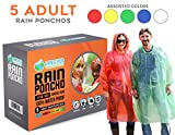 Lingito Rain Poncho: Disposable Emergency Rain Ponchos for Men, Women and Teens (5pack)