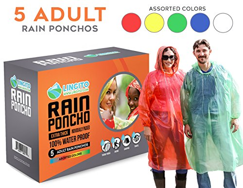 Lingito 5 Pack Rain Poncho | Disposable Emergency Rain Ponchos for Men, Women & Teens | Assorted Colors with Individual Packaging | Extra-Thick & Heavy Duty!