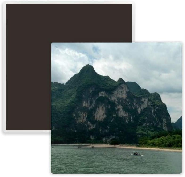Mountains And Rivers Photography Square Ceramics Fridge Magnet Keepsake Memento