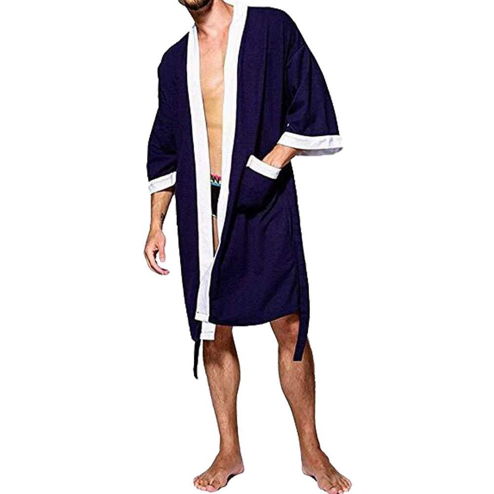 Tyjtyrjty Men's Waffle Kimono Robe Cotton Lightweight Nightgowns Spa Terry Cloth Bathrobe Sleepwear with Pockets (Navy-White, Large)