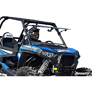 SuperATV Heavy Duty Scratch Resistant 3-IN-1 Flip Windshield for Polaris RZR 900/900 S/900 4/1000 XP/1000 S/1000 4/Turbo XP (NOT For Ride Command Models) ...