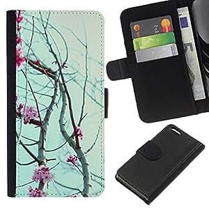 KingStore / Leather Etui en cuir / Apple Iphone 5C / Pétalos de las flores cerezo floreciente;