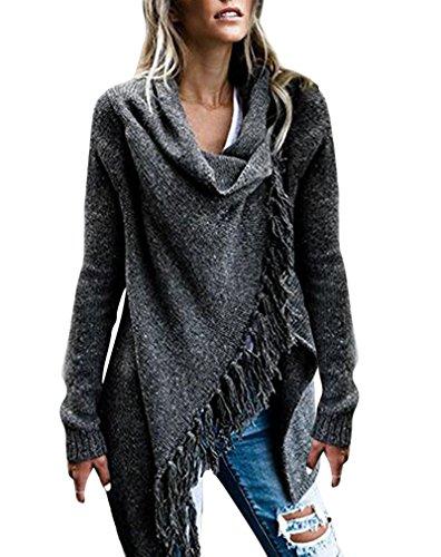 orlo scialle donna con incappucciato cardigan Grigio Pullover AIYUE maglione irregolare 2 Mantello poncho maglie SzpwxWvqB