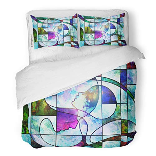 Tarolo Bedding Duvet Cover Set Souls of Light Series Composition Stained Glass Colorful and Subject Spirituality Imagination Creativity 3 Piece King 104