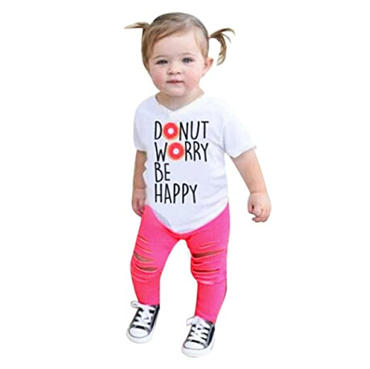 93fbe8d323979 Amazon.com: Minisoya 2Pcs Toddler Kids Baby Girls Casual Summer Short Sleeve  Letters Printed T-Shirt Tops Hole Pants Outfit Set: Clothing