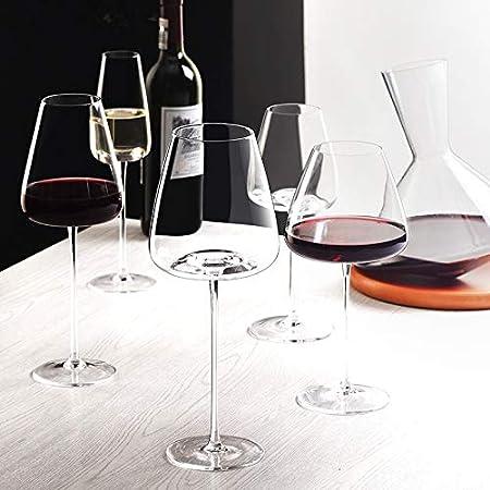 PPuujia Juego de copas de vino Artwork 500 – 600 ml Colección Level Copa de vino tinto hecho a mano, cristal ultrafino, burdeos, copa para degustación del vientre grande, color 550 ml