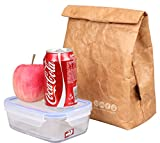 SANNE Lunch Bag Box Cooler Bag Insulated Retro Style Holiday Gift Set For Women Adults Boys Girls Reusble Paper Leakproof Tyvek Handle Bag Go Work Picnic Shool(Brown)
