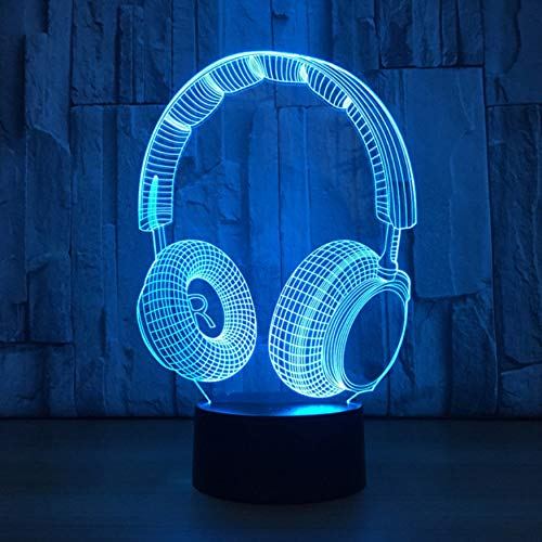 3D Led Night Light Music Headset with 7 Color Change for Home Decoration Amazing Visualization Optical Illusion Table Lamp,Sykdybz]()