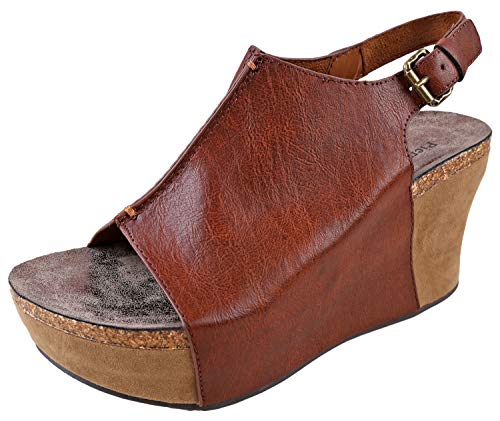 - Pierre Dumas Hester-14 Women's Platform Wedge Open Toe Sandals (8.5, Whiskey)