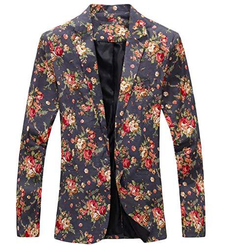 Grau Cocktail Florale Manches Elégant Robe Homme Imprimée Costume Blazer Et Vintage Avec Broderie Longues qqwnOT7I