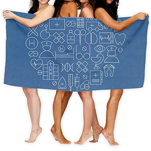 JOEKAORY Small Icon Printed Bath Towel Shower Wrap Beach Bathroom Body Towels Waffle Body Wrap Spa Home Travel Hotel Use