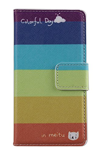 IKASEFU(TM) LG Optimus L90 Wallet Case - PU Leather Book Style Flip Cover Case with Stand and Credit Card Holders (Colorful Day)