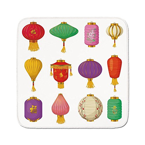 Cozy Seat Protector Pads Cushion Area Rug,Lantern,Chinese Celebration Asian Culture Far East New Year Cartoon Style Festival Tassels Decorative,Multicolor,Easy to Use on Any Surface ()