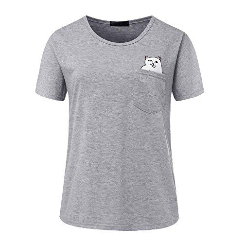 ISSHE Oversize T Shirt mit Aufdruck Damen Sommer Print Rundhals T Shirts  Kurzarm Frauen Lockere T c77473e8c6