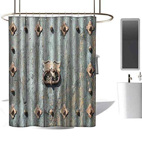 - homehot Shower Curtains Nautical Theme Rustic,European Cathedral with Rusty Old Door Knocker Gothic Medieval Times Spanish Style,Turquoise,W36 x L72,Shower Curtain for Girls Bathroom
