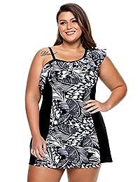 Gludear Women Plus Size One Ruffle Shoulder Printed Tankini Swimwear with Bottom