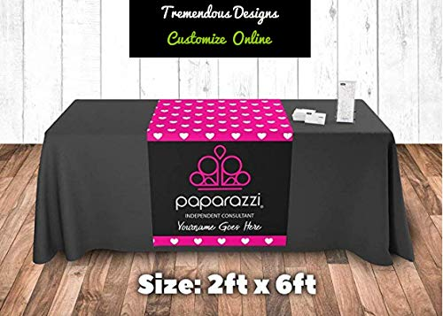 Tremendousdesigns.co Paparazzi Table Runner Hearts Pattern Customize with Your Name 2
