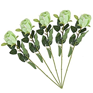 UKCOCO Artificial Flowers Bouquet Single Stem Fake Rose Simulation Floral Bundle (Green) 5pcs 14