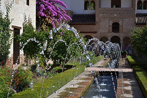 Home Comforts Peel-n-Stick Poster of Alhambra Garden Granada Fountain Spain Vivid Imagery Poster 24 x 16 Adhesive Sticker Poster Print