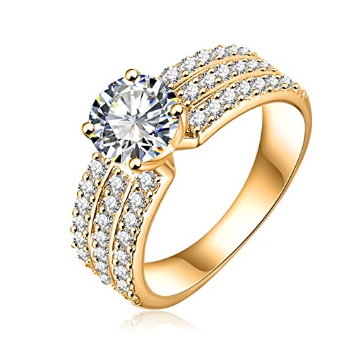 Three Gold Plated Rings - AmDxD Jewelry Women Rings Wedding Band Gold Plated,Big Round CZ with 3 Rows Crystal Size 9