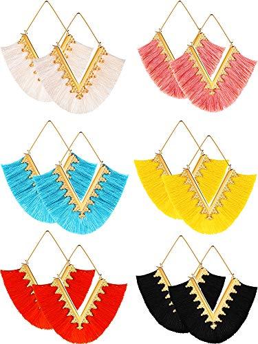 (6 Pairs Bohemian Tassel Earrings Handmade V Shape Tassel Earrings Geometric Triangle Drop Dangle Earrings for Girls Women (Color Set 1) (Color Set 2))