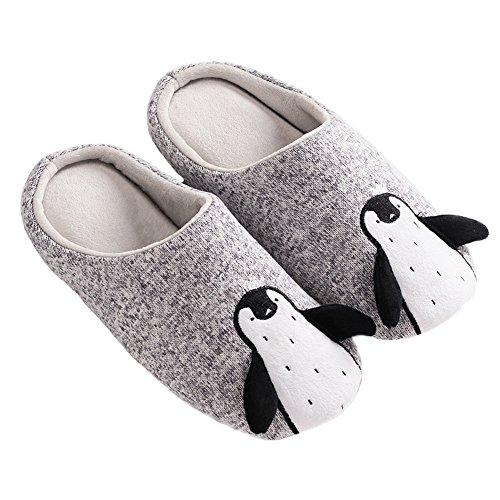 open Warm Fleece Pattern Slippers back Grey House Penguin Cozy JadeRich Unisex qxRfTwz