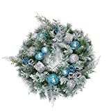 Northlight Flocked Sequin Ornaments Artificial Pine Christmas Wreath-Unlit, 24'', Blue/Silver