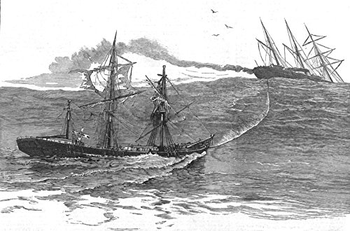 PALMYRA. A Disaster at sea-S S towing Derelict ship Norton towards Falmouth - 1882 - old antique vintage print - engraving art picture prints of Syria Disasters - The Graphic