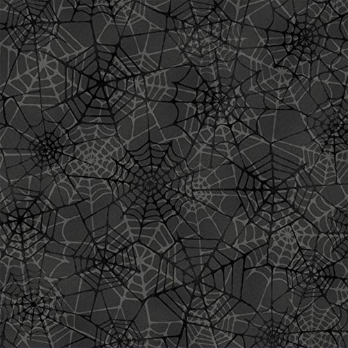 Marcus Fabrics Grumpy Cat Halloween Spiderwebs Black