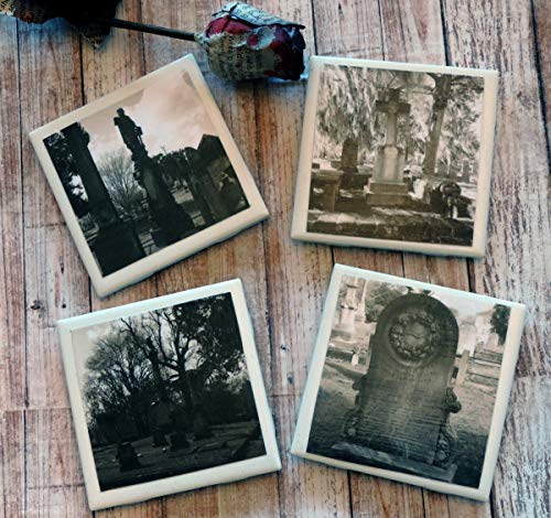 Historic Cemetery Photo Coaster Set, Black and White Tombstone Halloween Coasters, Photo Coasters, Halloween Wedding Gift, Party Decor, Gothic Decor