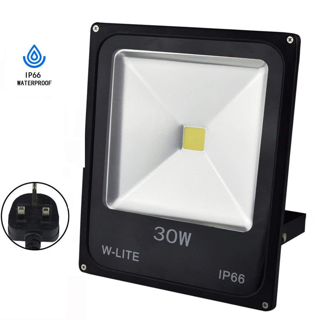 30W LED Flood Lights Outdoor Security Light, Waterproof Floodlight Lamp for Garden/Yard/Lawn/Patio/Porch, 6000K Daylight White, 250W Equivalent,86-265V Input, Aluminum(with UK 3-Plug) [Energy Class A++] W-LITE
