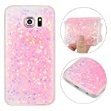 Galaxy S6 Edge Back Case, Rosa Schleife 3D Creative Design Sparkle Luxury Bling Glitter Soft TPU Bumper Phone Case Protective Skin Shell Cases Covers for Samsung Galaxy S6 Edge (5.1')
