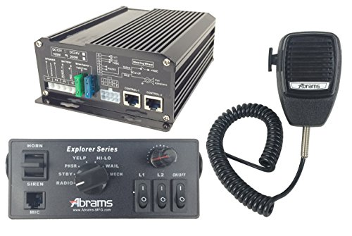 ABRAMS EXP-ULTRA-KIT/100-C Explorer 100W Console Mount Siren System Set with Mechanical Tones, Comes with PA Mircophone & 100W Ultra Siren Speaker Ptt Amplifier