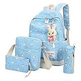 Outsta 4 Sets Women Girl Rabbit Animals Travel Backpack, School Bag Shoulder Bag Handbag Travel Lightweight Classic Basic Water Resistant Backpack Fashion (Sky Blue)