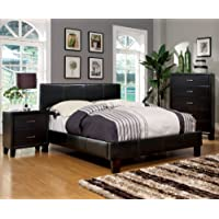Furniture of America Lauren Leatherette Upholstered Platform Bed, Full, Dark Espresso