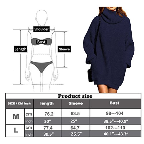 e628bf5b9e Fengtre Women s Loose Oversize Turtleneck Wool Long Pullover Sweater Dress  Grey M