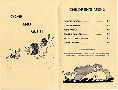 The Timbers Children's Menu Rabbit Road Sanibel Island Florida 1980 (Vintage Rabbit Postcard)