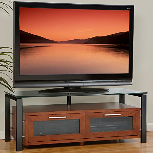 Plateau DECOR 50 WB Wood and Glass TV Stand, 50-Inch, Walnut Finish (Tv Lcd B Turntable)